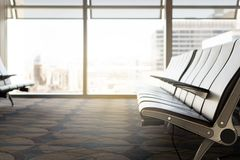 Waiting room at airport. Empty seats at gate in terminal. Stock Photography