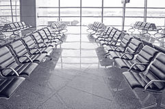 Waiting room at the airport. Monochrome. Royalty Free Stock Photos