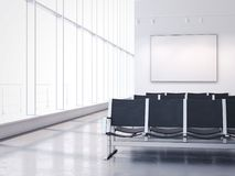 Waiting room with empty banner on the wall. 3d rendering. Waiting room with dark armchairs and an empty banner on the wall. 3d rendering Royalty Free Stock Images