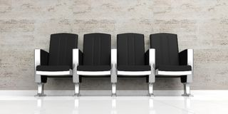 Waiting room. Empty black chairs on white floor. 3d illustration. Waiting room. Empty luxury chairs on white floor. 3d illustration Stock Images