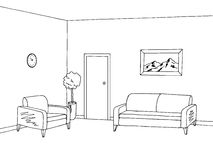 Waiting room graphic black white interior sketch illustration Stock Image