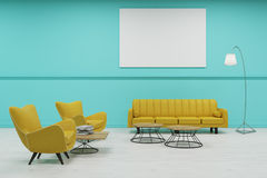 Waiting room with green walls. Green wall waiting room with large yellow sofa, two armchairs and several coffee tables. Large horizontal poster. 3d rendering Stock Photo