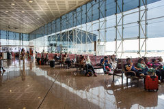 Waiting room inside El Prat International Airport. BARCELONA, SPAIN - MAY 30, 2014: The airport is the second largest in Spain and 31st busiest in the world Stock Images
