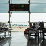 Waiting room inside El Prat International Airport. BARCELONA, SPAIN - MAY 30, 2014: The airport is the second largest in Spain and 31st busiest in the world Stock Photos