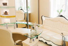 Waiting room interior in a beauty spa salon Stock Images