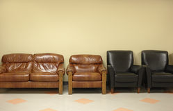 Waiting room with leather chairs Stock Photos
