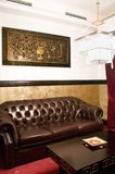 Waiting Room with Leather Couch Royalty Free Stock Photos
