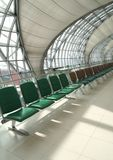 Waiting room, place in airport, perspective view Stock Photos