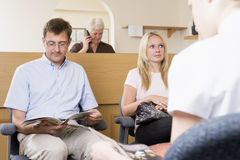 Waiting room and reception desk stock image