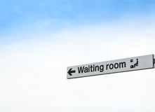 Waiting Room Sign Isolated against Sky Background Royalty Free Stock Images