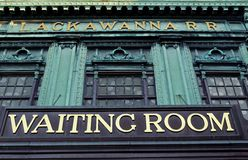 Waiting room sign. Sign waiting roomof Lackawanna Terminal in Hoboken New Jersey, USA stock images