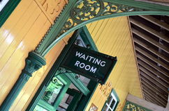 Waiting room train platform sign Royalty Free Stock Image