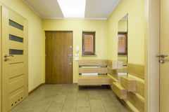 Waiting room in yellow colour Stock Photos