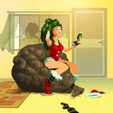 Waiting for Santa pinup. Pinup detailed illustration of a girl waiting for Santa while looking at the mirror. The file is eps 10, every element is in a separate royalty free illustration