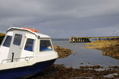Waiting for the Sea. A cabin cruiser moored on the beach in Scotland Stock Photography