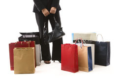 Waiting with shopping bags Royalty Free Stock Photo