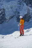 Waiting for skiing downhill start. Skiing in winterlandscape with glacier in background Stock Image