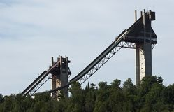 Waiting for Snow. The ski jumps located at Lake Placid where the 1932 and 1980 winter Olympics where held Stock Photos