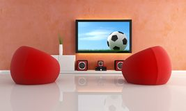 Waiting for soccer game in a modern living room Royalty Free Stock Photos