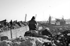 Waiting for something in the horbor of Essaouira. Black and white Royalty Free Stock Photo