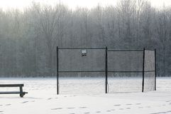 Waiting for Spring. A snow covered ball field waiting for the spring Royalty Free Stock Photos