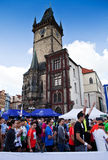 Waiting for a start of prague marathon. 2012 next to Prague astronomical clock Old Town Square Royalty Free Stock Photo