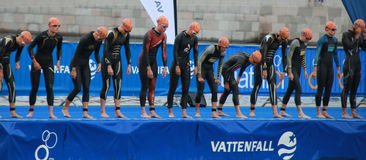 Waiting for the start signal - Triathlon, women Stock Images