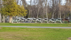 Waiting For Summer. Picnic tables stacked at Cedar Point State Park Stock Images