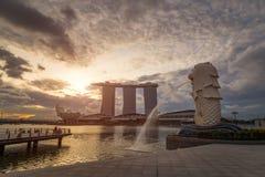 Merlion at sunrise , Singapore 17/10/2016. Waiting for sunrise will make more beautiful royalty free stock photography