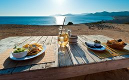 Waiting for the sunset. In with sangria and food in Ibiza spain Royalty Free Stock Photo