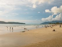 People in the Beach, Waiting Sunset at Cenang Beach, Langkawi royalty free stock photography