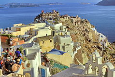 Waiting for the sunset in Oia Royalty Free Stock Photo