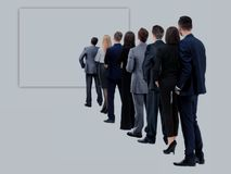 Back view of a Group of business team. Isolated on white background. Waiting for their Turn People in Queue stock images