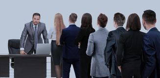 Business people looking at boss standing back side. Waiting for their Turn People in Queue royalty free stock images