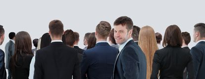 Large group of businesspeople standing back side Stock Image