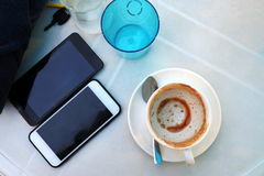 Waiting time. While waiting for the phone Coffee and refreshments until then Royalty Free Stock Image