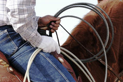 Waiting to compete. A cowboy waits to compete in the roping competition Stock Images