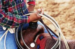 Waiting to compete. A cowboy waits to compete in the roping competition Stock Photography