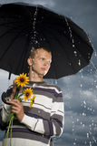 Waiting to meet. Men waiting to meet with his girlfriend in the rain Royalty Free Stock Photo