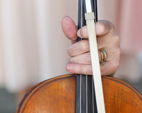 Woman Violinist Holding the Instrument Stock Image