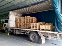 Waiting to unloading to warehouse stock images