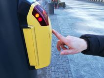 Waiting at the traffic light. Button for green traffic light stock photo