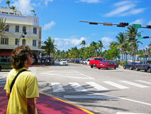 Waiting for the traffic light intersection Royalty Free Stock Images