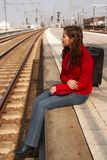 Waiting for a train Stock Images