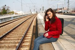 Waiting for a train royalty free stock image