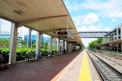 Waiting for train arrival in station, perspective view Royalty Free Stock Photography