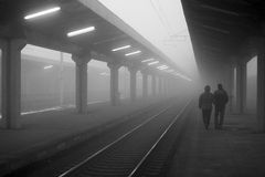 Waiting for train - black and white Stock Images