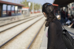 Waiting for train Stock Images