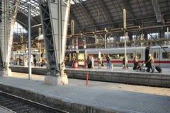 Passengers inside Frankfurt Central Train station Royalty Free Stock Photos