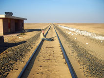 Waiting for train to arrive. Train station in Egypt at Sahara desert (Libyan). One track for two ways. A passenger waits for train to arrive stock image